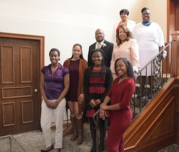 Scholarship Recipients- Catherine Ann Copeland, Tatyana M. Bell, Jamie Estes, Aliyah Parsons ; 2nd Row: Z-Hope Honorees - Irv Randolph from the South Jersey Journal and Rena' Morrow; 3rd Row: Z-Hope Honoree - Glassboro Councilwoman Anna Miller and President of Omicron Omicron Zeta Chapter - Vanessa Hamilton