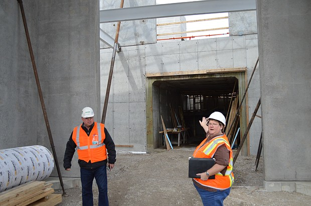 Joliet civil engineer Lisa Dorothy gives a tour of the new train station in the downtown.