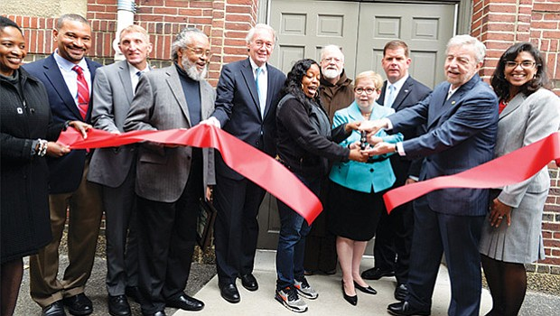 Mayor Martin Walsh participates in a ribbon cutting ceremony to celebrate the grand opening of ABCD Head Start in the Holy Cross Cathedral Grammar School building on Harrison Avenue.