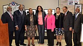 The airport welcoming reception for 2016 National Teacher of the Year Johanna Hayes (center) featured Presiding Prelate Bishop Henry M. Williamson Sr. (second from the right) of the First Episcopal District of the Christian Methodist Episcopal Church, other district officials and guests, including Memphis City Councilwoman Jamita Swearengen (third from the right).