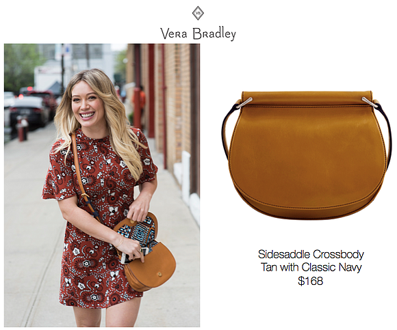 Hilary Duff spotted carrying the Vera Bradley Sidesaddle Crossbody in New York. The style retails for $168 and is currently ...