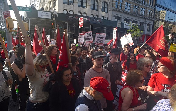 Elected officials, the New York Immigration Coalition, the Bodega Association and immigrant-run small-business owners used May Day to protest President ...