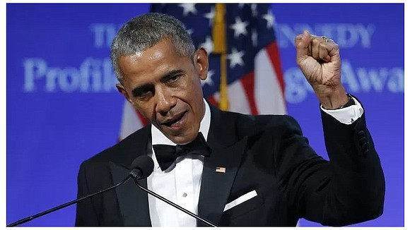 "On Sunday, Former President Barack Obama accepted the ""Profile in Courage"" award from the John F. Kennedy Library and didn't ..."