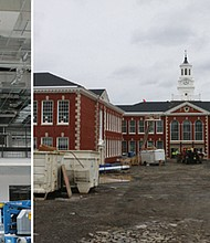(left) A crewmember from Skanska USA, the construction firm contracted by Portland Public Schools to complete the renovation of Franklin High School, works to remodel and modernize the historic building's central atrium. Franklin High School was originally built in 1917. (right) Construction crews work to complete the modernization of Franklin High School. The renovation process is preserving the campus' historic buildings, while adding new wings that complement the existing 100-year-old structure.