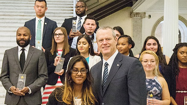 "Public college and university students chosen as this year's ""29 Who Shine"" honorees for their civic leadership and academic achievements were celebrated at the State House by Governor Charlie Baker, Education Secretary James Peyser, Higher Education Commissioner Carlos Santiago and University of Massachusetts President Marty Meehan."