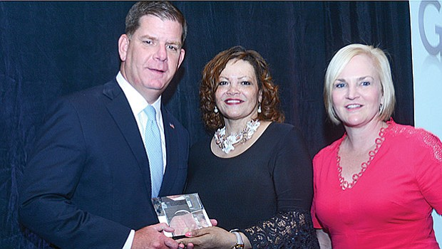 "The Massachusetts Women's Political Caucus presented Mayor Martin J. Walsh with its annual ""Good Guys"" award on May 5 at the Parker House Hotel in Boston, for his outstanding work in support of women's issues. Presenting the award are Gail Jackson-Blount, board president (center) and Sarah McCarthy Welsh, executive director."