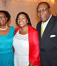 Cylia Lowe-Smith, Esq. (middle) with her parents Cynthia Minnifee Lowe (left) and Dr. Herbert Lowe (right) at the Junior League of Baltimore Annual Dinner and Awards. The Minnifee-Lowe Diversity & Inclusion Fund was established in their honor that evening to support diversity and inclusion programs at the JLB. Lowe-Smith was the first African American woman in the 104 year history of the Junior League of Baltimore (JLB) to serve as president.