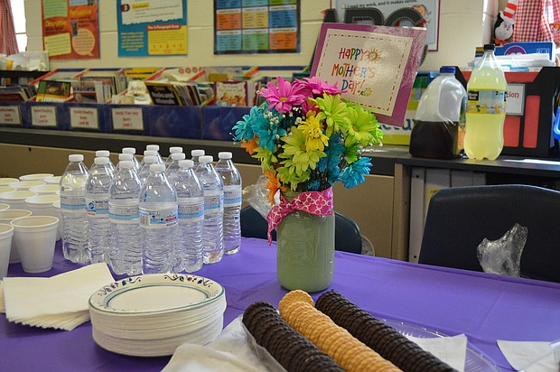 Treats await moms at Plainfield's River View Elementary Mother's Day spa day.