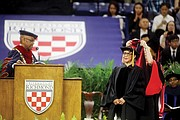 After her speech, Ms. Johnson was hooded as she received an honorary degree from UR President Ronald A. Crutcher.