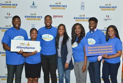 "DTU Photo Atlanta: The 2017 ""Discover the Unexpected"" Atlanta Fellows. (From left to right) Jordan Fisher, Clark Atlanta University;  Kelsey Jones, Spelman College; Darrell Larome Williams, Morehouse College; Chevrolet Diversity Marketing Manager, Michelle Alexander; Tiana Hunt, Clark Atlanta University; Ayron Lewallen, Morehouse College and; Taylor Burris, Spelman College."