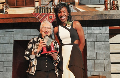 Portland Community College Board Chair Kali Thorne Ladd presents Betty Duvall (left) with the college's Patron Award for her long time work as an educator and supporter of student success.