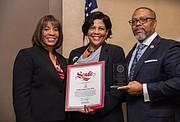 Honoree Linda Lindsey, JD with Lisa Blacksher (NAACP Treasurer), and A Majadi (NAACP President)