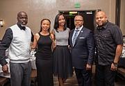 Honorees Quinten Johnson, Monica Stockhausen, and JT pose with Eva Tillman and A Majadi NAACP President