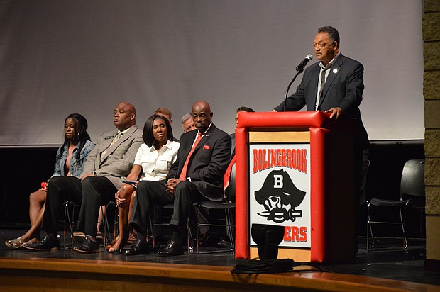 The Rev. Jesse Jackson spoke to seniors at Bolingbrook High School on May 17, the 63rd anniversary of the landmark Brown v. the Board of Education of Topeka Kansas decision that lead to the desegregation of public schools.