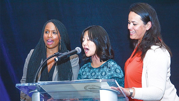 Boston City Council Women (l-r) at-large, Ayanna Pressley, President, Michelle Wu, and Annissa Essaibi George.
