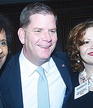 (l-r) Dani Monroe, CDO, Partners HealthCare MWPC, Mayor Walsh, and Board President Gail Jackson-Blount