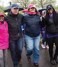 Mayor Martin Walsh marches with (l-r) state Sen. Linda Dorcena Forry and at-large city councilors Annissa Essaibi-George and Ayanna Pressley in the 21st annual Mothers Day Walk for Peace in Dorchester.