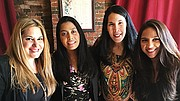 (l-r) Eneida Roman; state Rep. Juana Matias; Betty Francisco; and Chelsea City Councilor Judith Garcia, at a cafecito breakfast meeting hosted by Latina Circle.