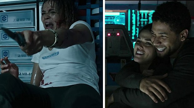 "Among the potential victims for the ""protomorph"" in Alien Covenant are Karine (Carmen Ejogo, Left) and Upworth and Ricks (Callie Hernandez and Jussie Smollett, right)."