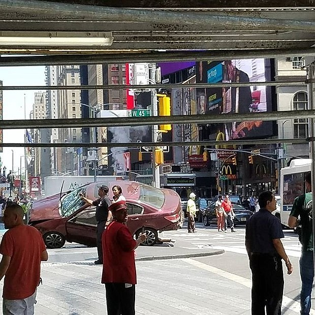 A fatal car crash incident in Manhattan's bustling Times Square Thursday, May 18, 2017, has also left several people injured, fire officials said.