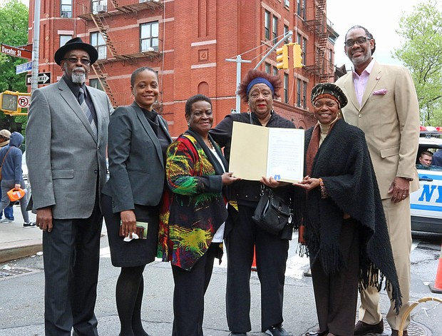 Former State Sen. Velamantte Montgomery made a presentation (L to R): Al Vann, Assemblywoman Tremaine S. Wright, Mrs. Robinson and Council Member Robert Cornegy