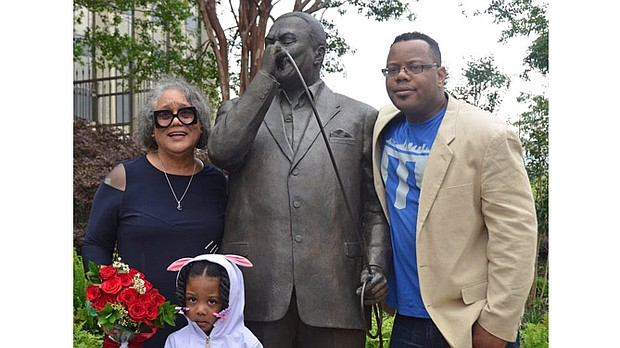 "Members of Bobby ""Blue"" Bland's family were on hand for the dedication of the statue erected at the corner of South Main Street and Martin Luther King Drive, in front of MLGW headquarters.
