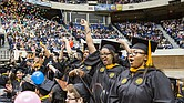 Newly minted nurses celebrate receiving their degrees during the Virginia Commonwealth University commencement Saturday at the Richmond Coliseum.