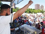 2016 Boston Green Academy graduate Jahi Spalos fires up the crowd at the Rally for Public Education on the Boston Common.