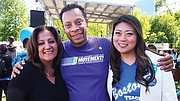 SEIU 32BJ Vice President Roxana Rivera, SEIU 1199 Executive Vice President Tyrek Lee and incoming BTU President Jessica Tang enjoy a moment during the Rally for Public Education Saturday.