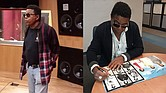 (left) Tito Jackson, grooving in studio. (right)Long a fan favorite, Tito Jackson signs a souvenir booklet for a fan.