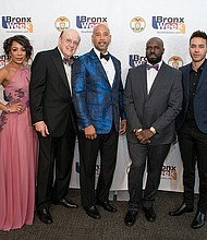 Bronx Borough President Ruben Diaz Jr. is joined by the Bronx Walk of Fame's Class of 2017—actress and Orange is the New Black star Selenis Leyva, medical inventor Dr. Manny Villafaña, hip-hop pioneer Funkmaster Flex and Latin music superstar Prince Royce—at the annual Bronx Ball, which took place on Saturday, May 20, 2017, at the Pelham Bay/Split Rock Golf Courses.