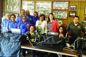 Alderman Michelle Harris and staff welcomed Chicago City Clerk Anna Valencia during the 8th Ward City Sticker Sale on May 18, 2017 at the 8th Ward service office, located at 8539 S. Cottage Grove Avenue. Photo Courtesy of Alderman Michelle Harris Office
