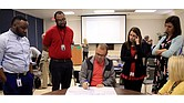 Shelby County educators list their reactions to students who act out as part of a discipline training on using restorative justice techniques in the classroom.