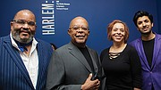 "(l-r) photographer Dawoud Bey, Harvard Professor and Hutchins Center Director Henry Louis Gates Jr., Ethelbert Cooper Gallery of African and African American Art Director Vera Ingrid Grant and London art gallery owner Amar Singh attend the Opening Night celebration of the Cooper Gallery's new exhibition ""Harlem: Found Ways"" in Cambridge."