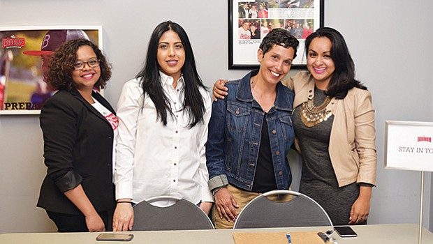 (l to r) BASE Staff members: Alexandra Auguste, Christina Adames, BASE parent Lori DiPina, and BASE Staff member Karla Aguilar.
