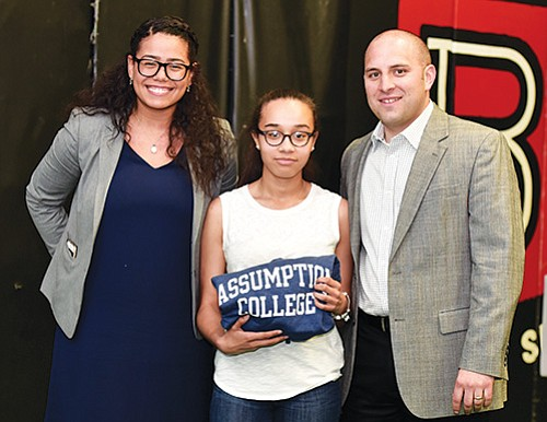 Snowden Graduating Senior Samantha Rincon who will attend Assumption College on a full scholarship with Assumption's Shanell Nunez Cartagena and Michael DiPiazza.