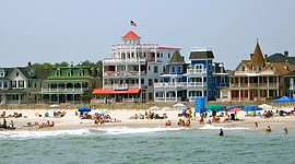 Houses on Beach Avenue in Cape May (city), New Jersey. Photo taken from the sea. In Cape May Historic District listed as a National Historic Landmark district. - Wikipedia photo
