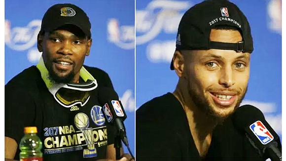 As a fresh NBA champions cap sat a tad off-kilter on his head, Kevin Durant embraced mother Wanda. Then he ...