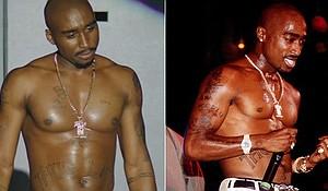 Demetrius Shipp, Jr, as Tupac and the real Tupac