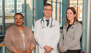 Addiction providers at the Office Based Addiction Treatment at Boston Medical Center. (l-r) Ludy O. Young, MEd, LADC I, Supervisor for BMC's Project ASSERT; Alexander Walley, MD, MSc, Associate Director of Faster Paths and Founder of BMC's Inpatient Addiction Medicine Consult Service;  Colleen LaBelle, MSN, RN-BC, CARN, Director of BMC's OBAT Program.