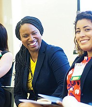 From left: New Politics Founder Emily Cherniack, Councilor Ayanna Pressley and Latino Victory Project Director Mayra Macias