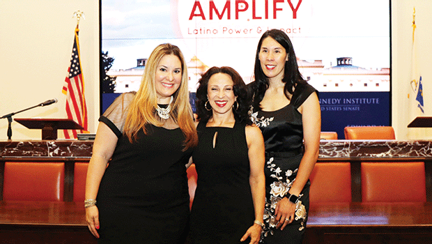 Latina Circle Co-Founders Eneida Roman and Betty Francisco, with NPR Latino USA. Host Maria Hinojosa at Center.