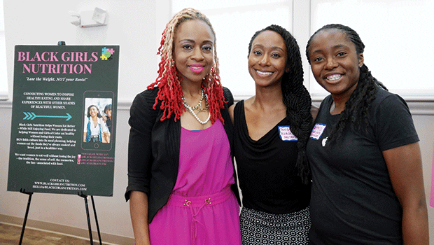 At Mass Innovation Nights in Grove Hall, Black Girls Nutrition was represented by (l-r) Katia Powell, founder and CEO; Tangela Kindell, digital marketing strategist; and Béthy Diakabana, software engineer.