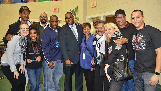 RCC staff and Reggie Lewis Center supporters at the New Balance Indoor Grand Prix, which was held at the Reggie Lewis Center on January 28.