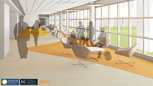 A rendering of the first floor hallway in front of the new Student Commons, completed with new flooring, seating, and tables.