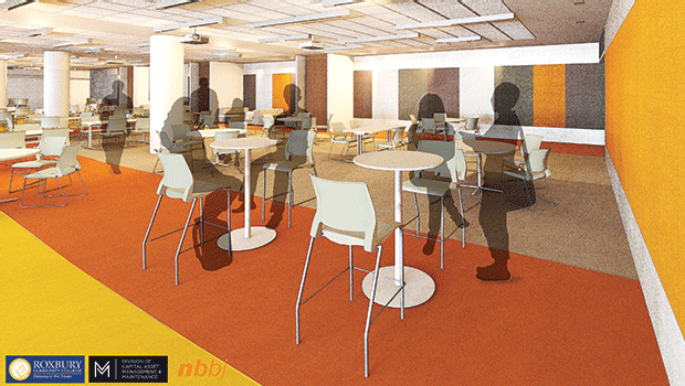 A rendering of the new Student Commons, which will comfortably seat approximately 300 students.