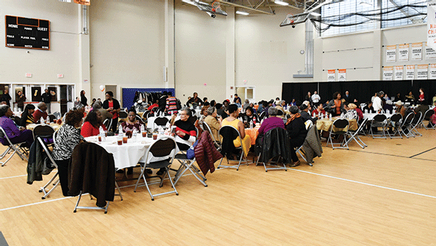 On Nov. 18, the Sensational Seniors packed the Reggie Lewis Center's gym for the annual Thanksgiving Luncheon, where the seniors are treated to a full Thanksgiving meal, served by RCC staff and students.