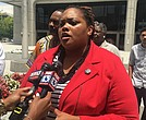 Community activist Tami Sawyer and others representing various groups are lined up against a request to end federal oversight of Shelby County Juvenile Court. (Photo: Montee Lopez)