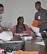 At the Memphis Office of Youth Services, this group of young people are getting what each participant already has concluded will be a rewarding summer experience. Pictured (l-r): Angela Taylor, Cameron Taylor, Kayla Jones, Joshua Robinson, Allanna Black, Myles McGoughy. (Photo: Shirley Jackson)