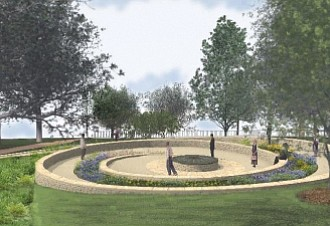 """This rendering is of """"Mantle,"""" the proposed $900,000 tribute to Virginia's Native Americans that New York artist Alan Michelson designed for Capitol Square in Richmond. The monument is to be shaped like a nautilus, a spiral seashell, with the main features to include a walkway, a reflecting pool and a stone wall on which to sit and meditate. It will be located on the Capitol grounds, near 9th street, between the Bell Tower and the Grace Street entrance."""